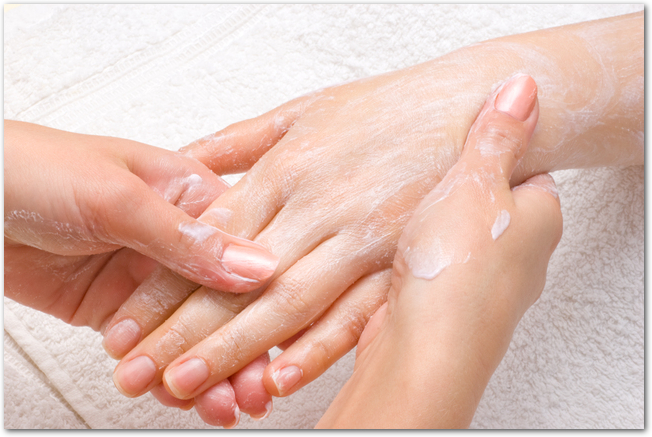 peeling or moisturizing procedure